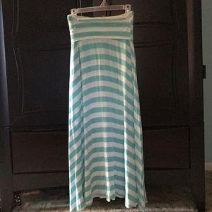 Dresses & Skirts - Maxi skirt aqua white stripe